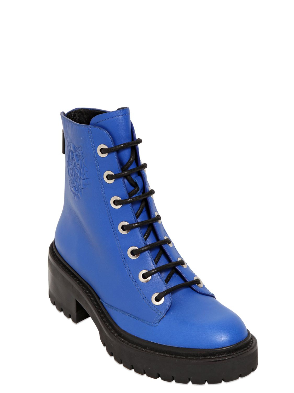 Kenzo 50mm Leather Lace Up Boots In Blue Lyst