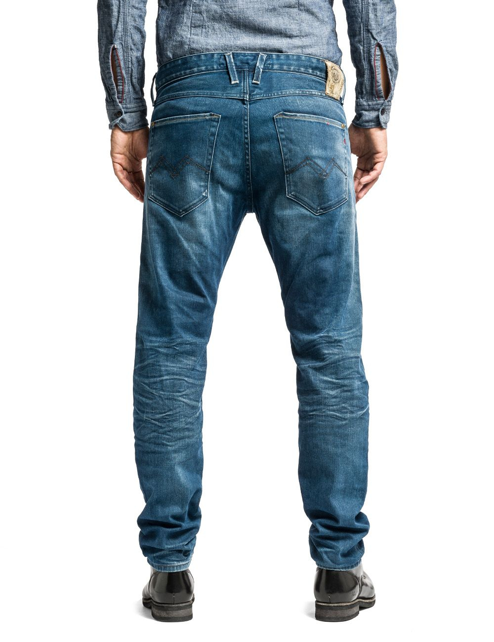 replay masig tapered slim fit denim jeans in blue for men denim mid wash lyst. Black Bedroom Furniture Sets. Home Design Ideas