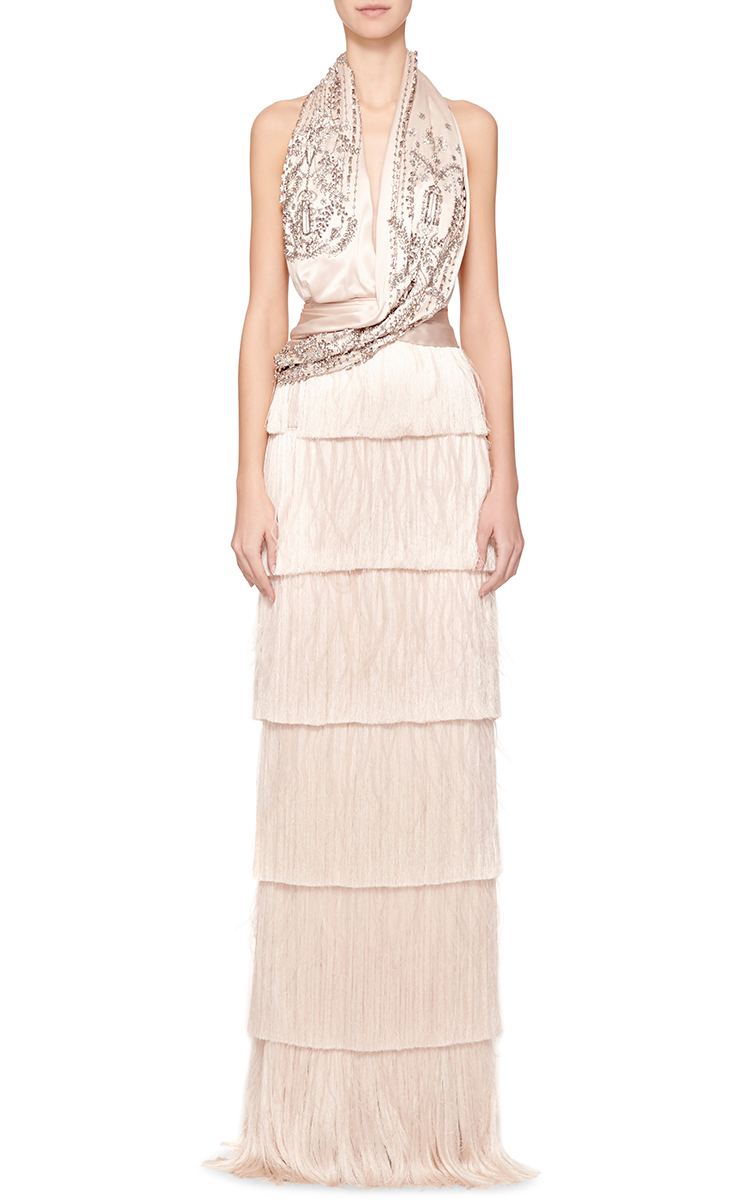 22532f3e Marchesa Re-Embroidered Halter Fringe Gown in Pink - Lyst