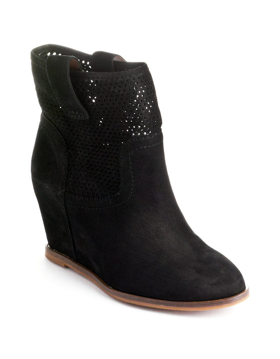 lucky brand keno leather covered wedge booties in black