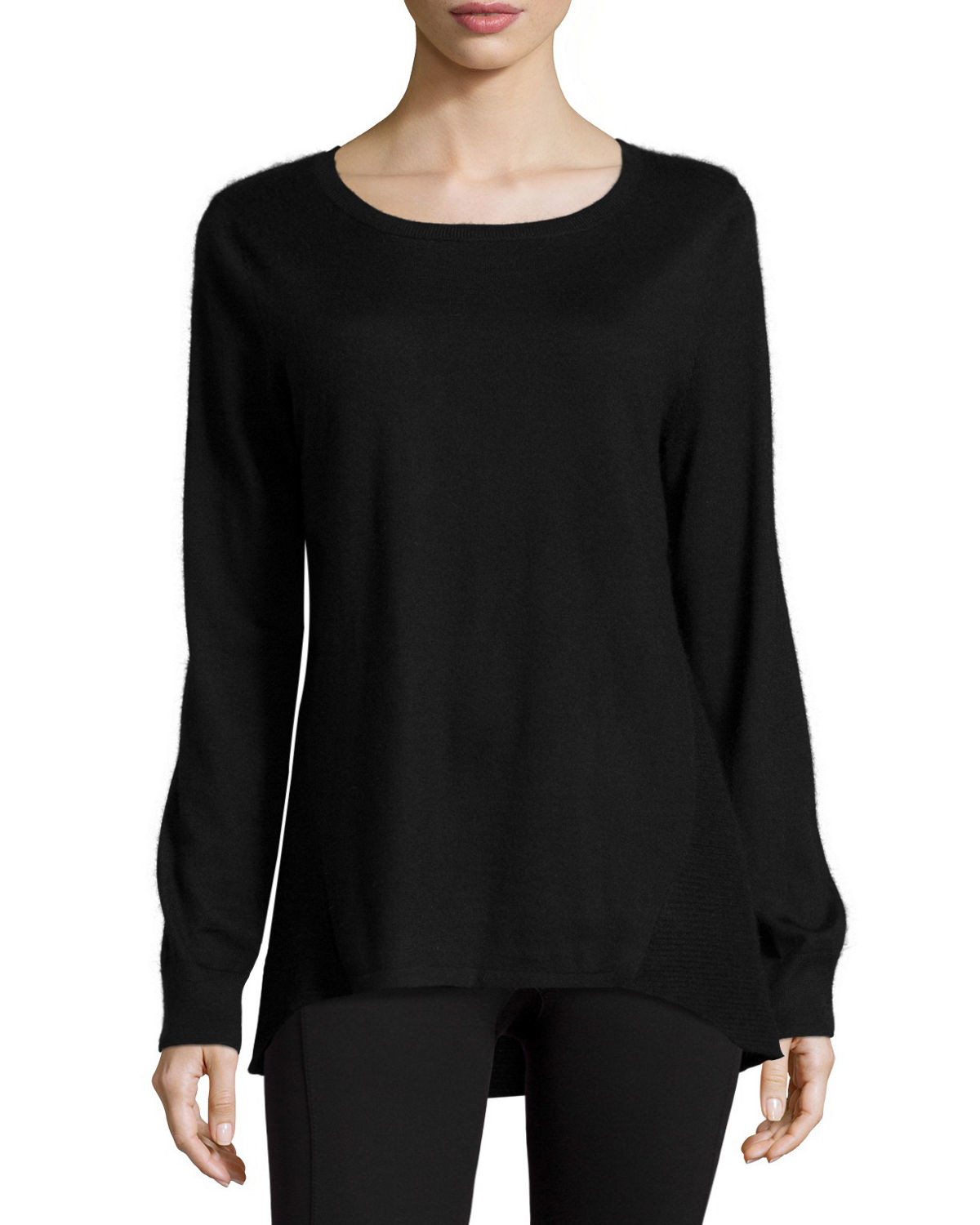 neiman marcus jewel neck cashmere pullover in black lyst. Black Bedroom Furniture Sets. Home Design Ideas