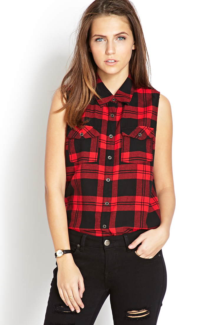 Lyst forever 21 sleeveless plaid shirt in red Womens red tartan plaid shirt