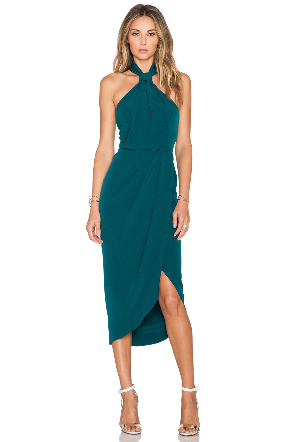 Shona Joy The Pass Knot Draped Dress In Blue Lyst