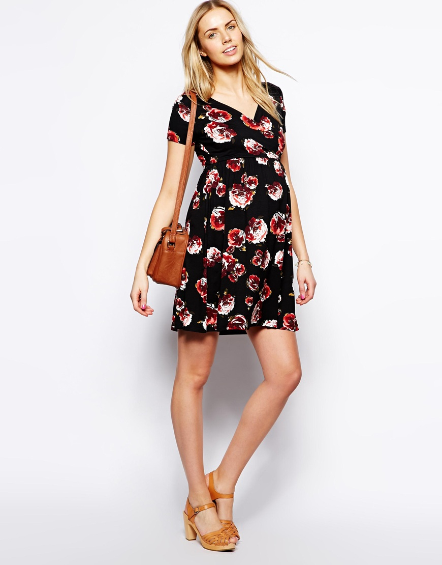 Asos Maternity Wrap Skater Dress in Floral Print in Floral ...