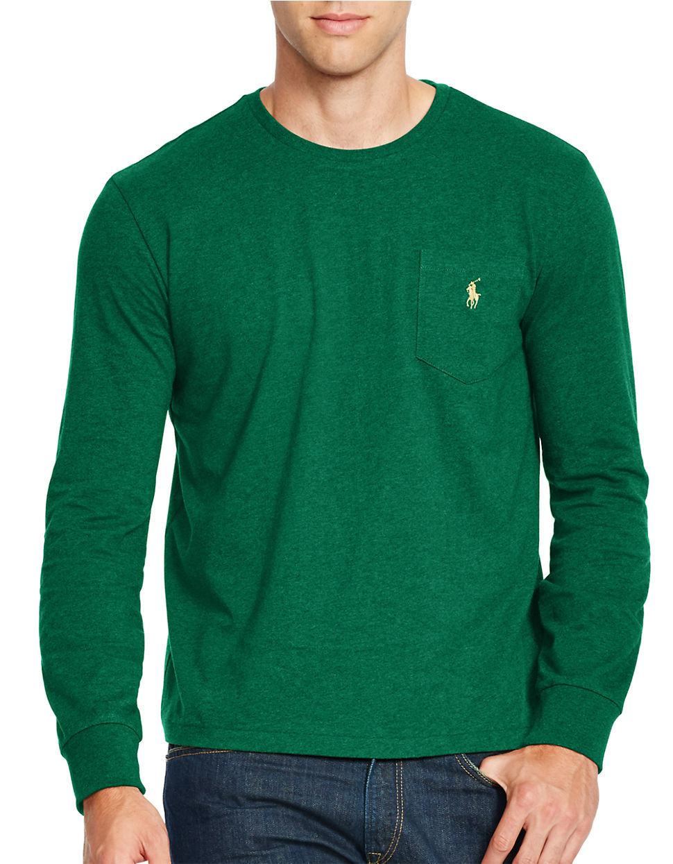 Polo ralph lauren long sleeve crewneck shirt in green for for Forest green polo shirts