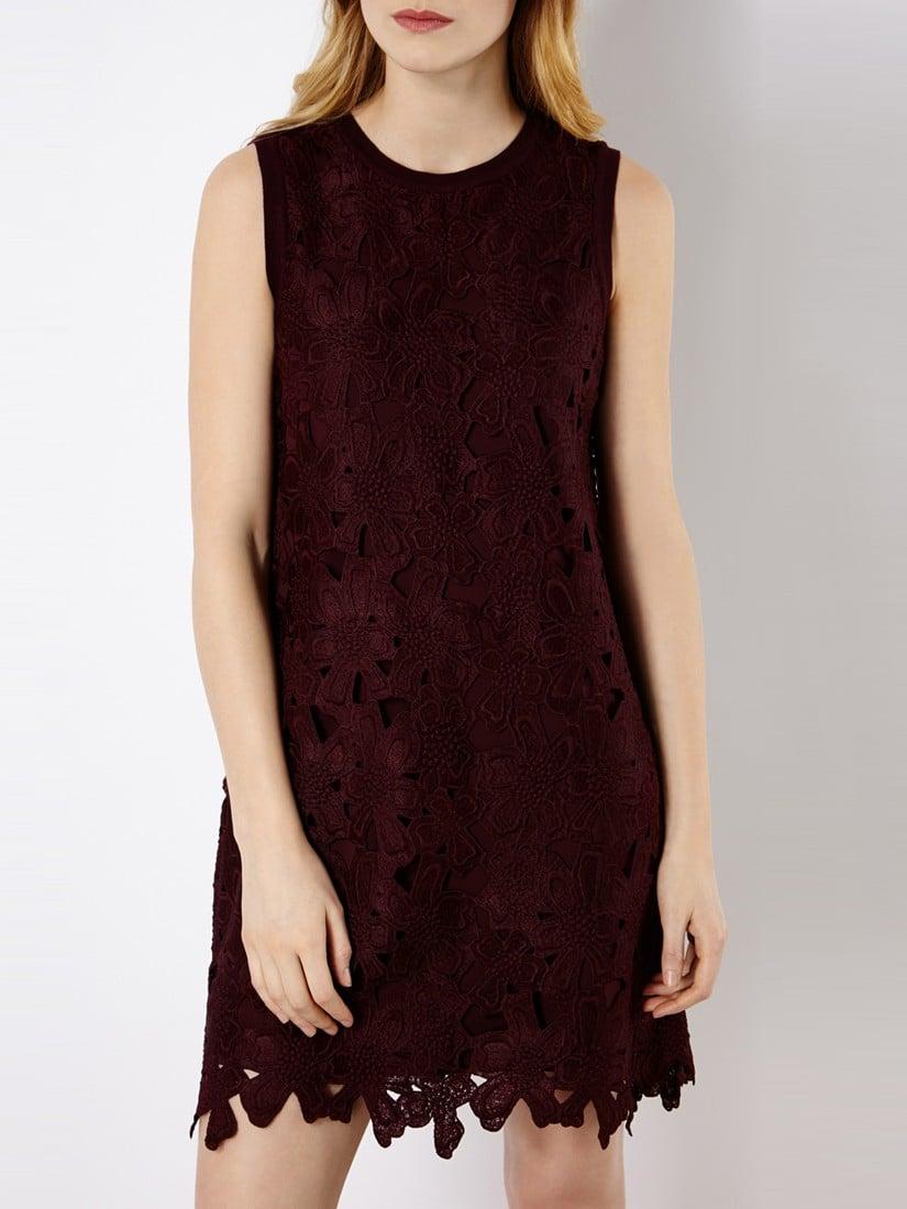 Karen Millen Vintage Lace Knit Dress In Red Lyst