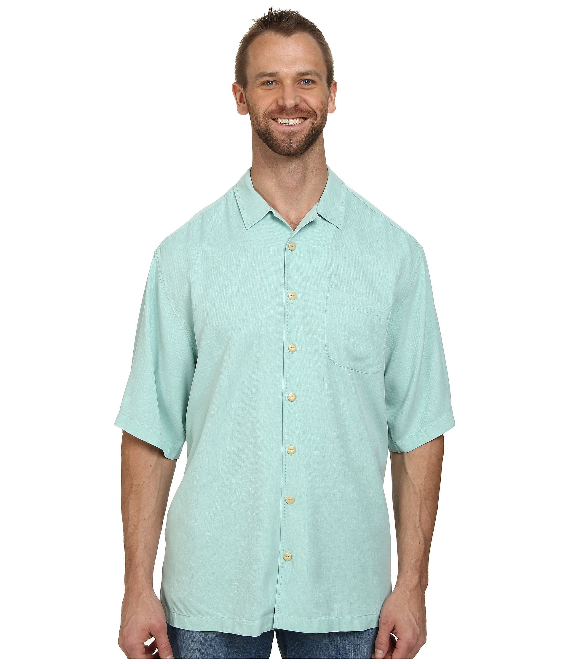 Tommy bahama big tall hamilton s s button up in blue for for Big and tall button up shirts