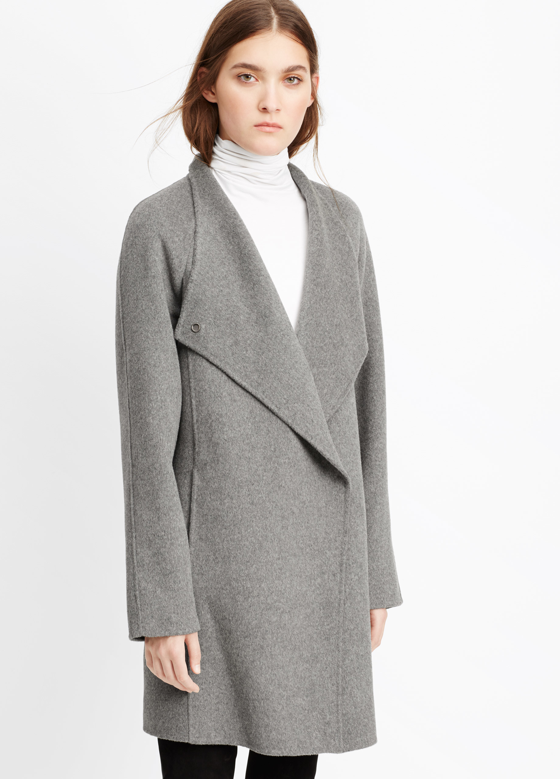 Vince Sweater Backed Asymmetric Front Car Coat in Gray | Lyst