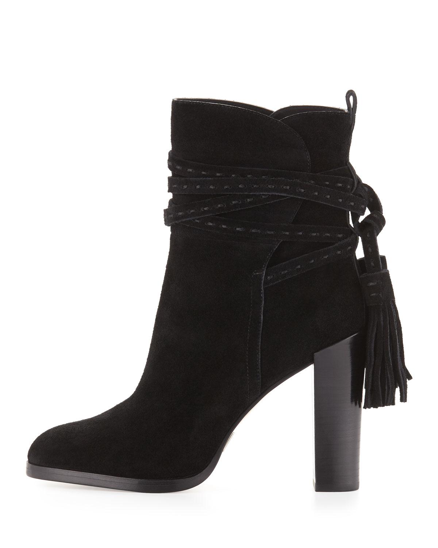 michael kors palmer suede tassel boots in black lyst
