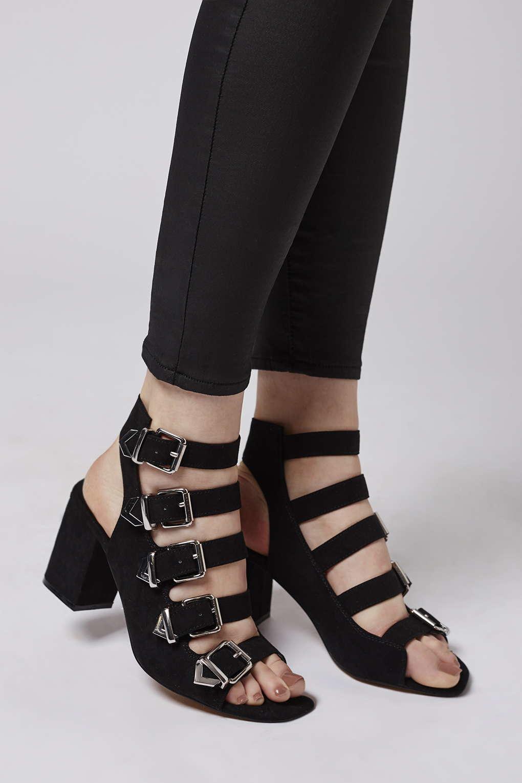 Topshop Naomi Buckle Sandals In Black Lyst