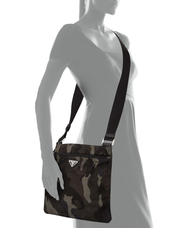 02a7ce1a4678 ... cheap lyst prada tessuto camo print crossbody bag in green for men  afccc aeced