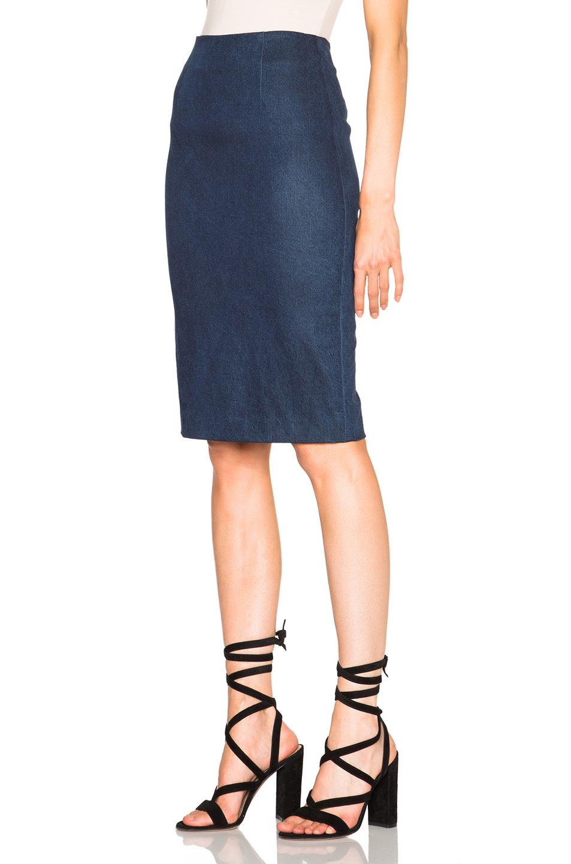 Sally lapointe Enhancing Stretch Denim Pencil Skirt in Blue | Lyst