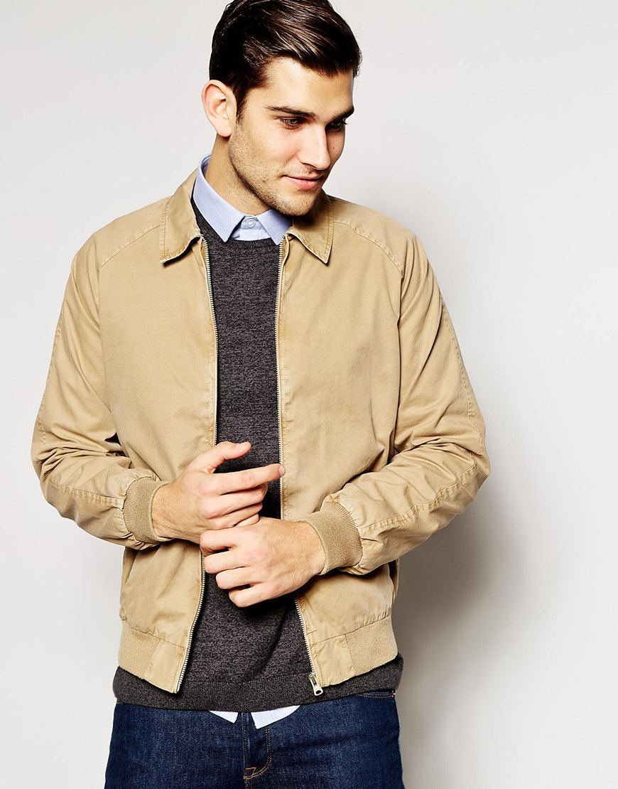 Asos Harrington Jacket In Stone in Natural for Men | Lyst