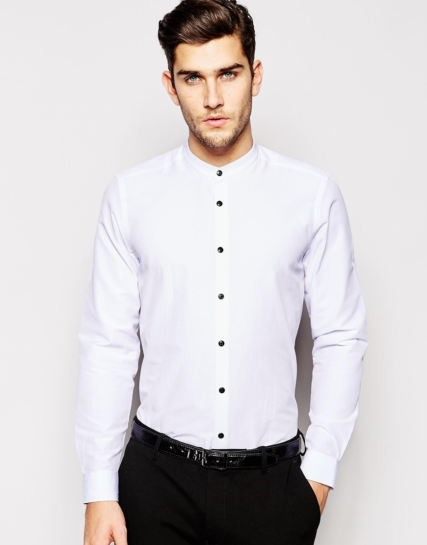 Asos Shirt In Long Sleeve With Grandad Collar And Contrast
