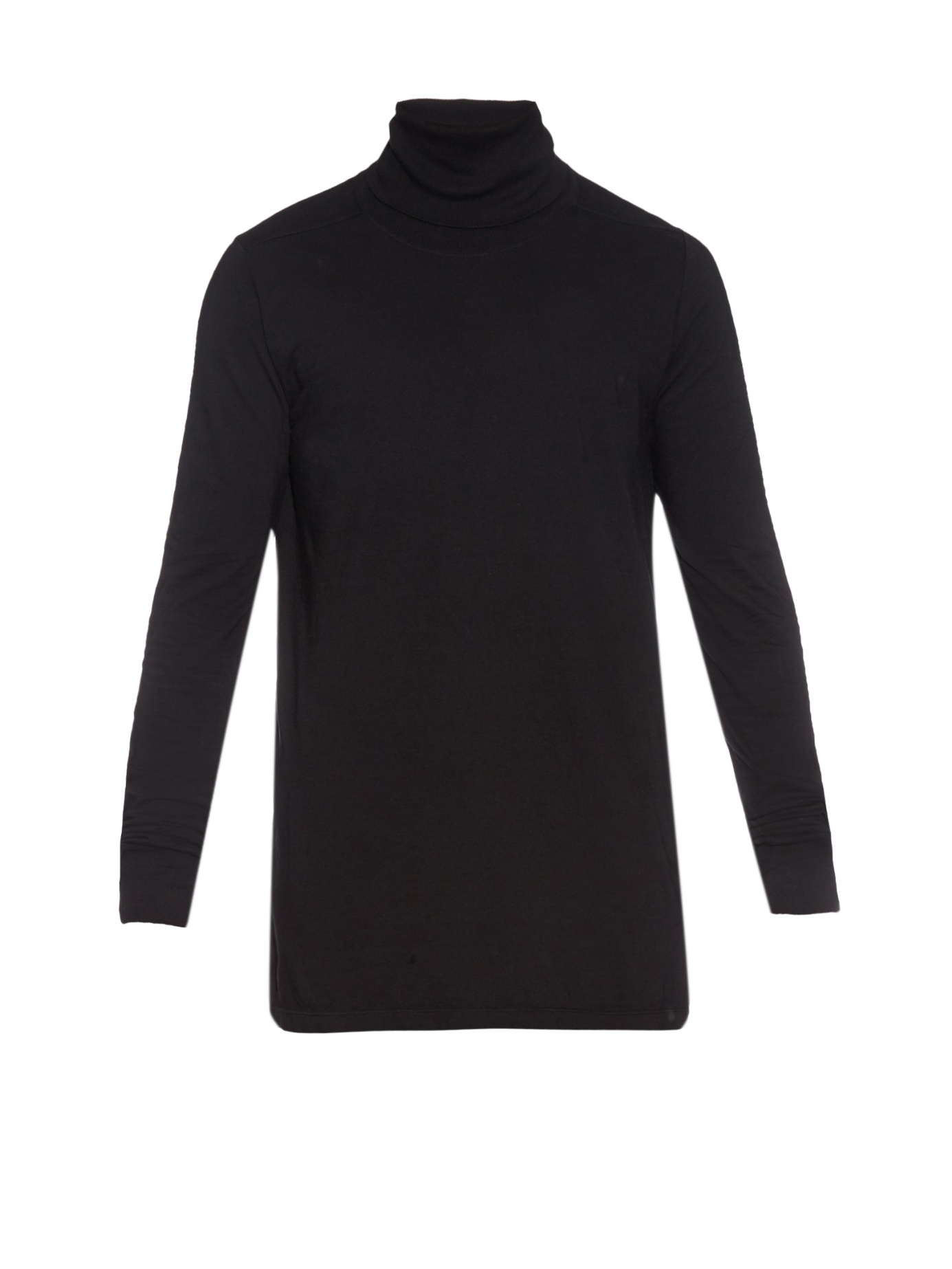 Rick owens Oversized Cotton-jersey Roll-neck Sweater in Black for ...