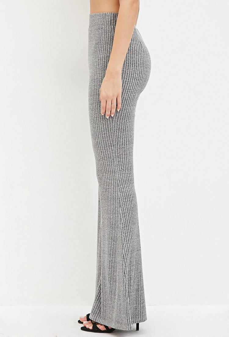 Forever 21 Ribbed Knit Flared Pants in Gray