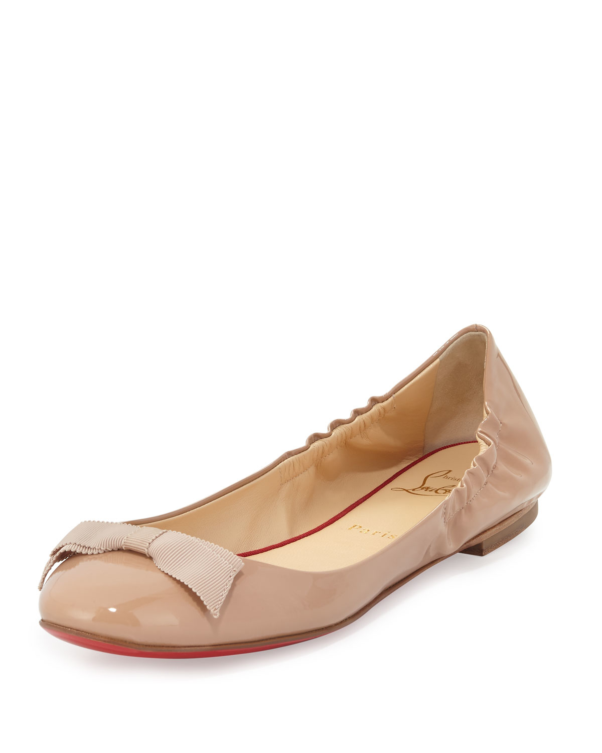 393553f828cb Lyst - Christian Louboutin Gloriana Patent-Leather Ballet Flats in ...