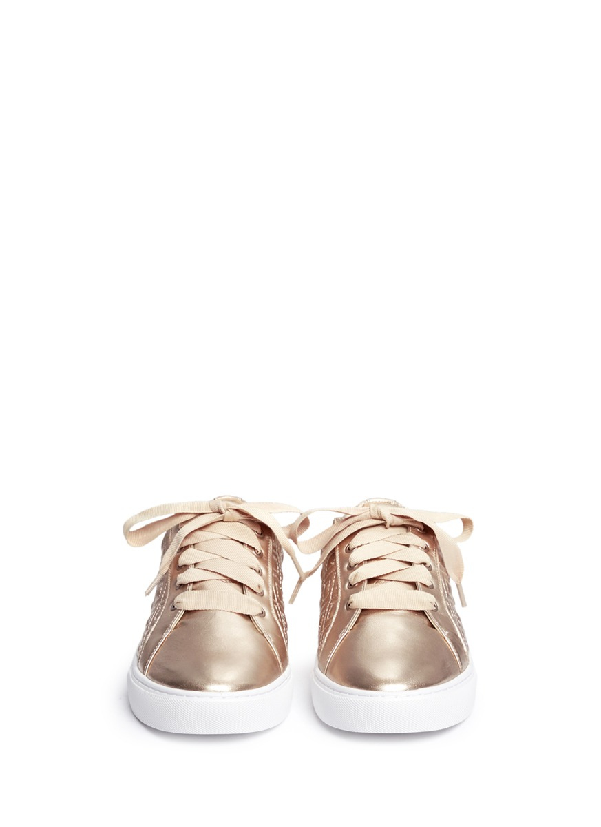 Lyst Tory Burch Marion Quilted Leather Sneakers In Pink
