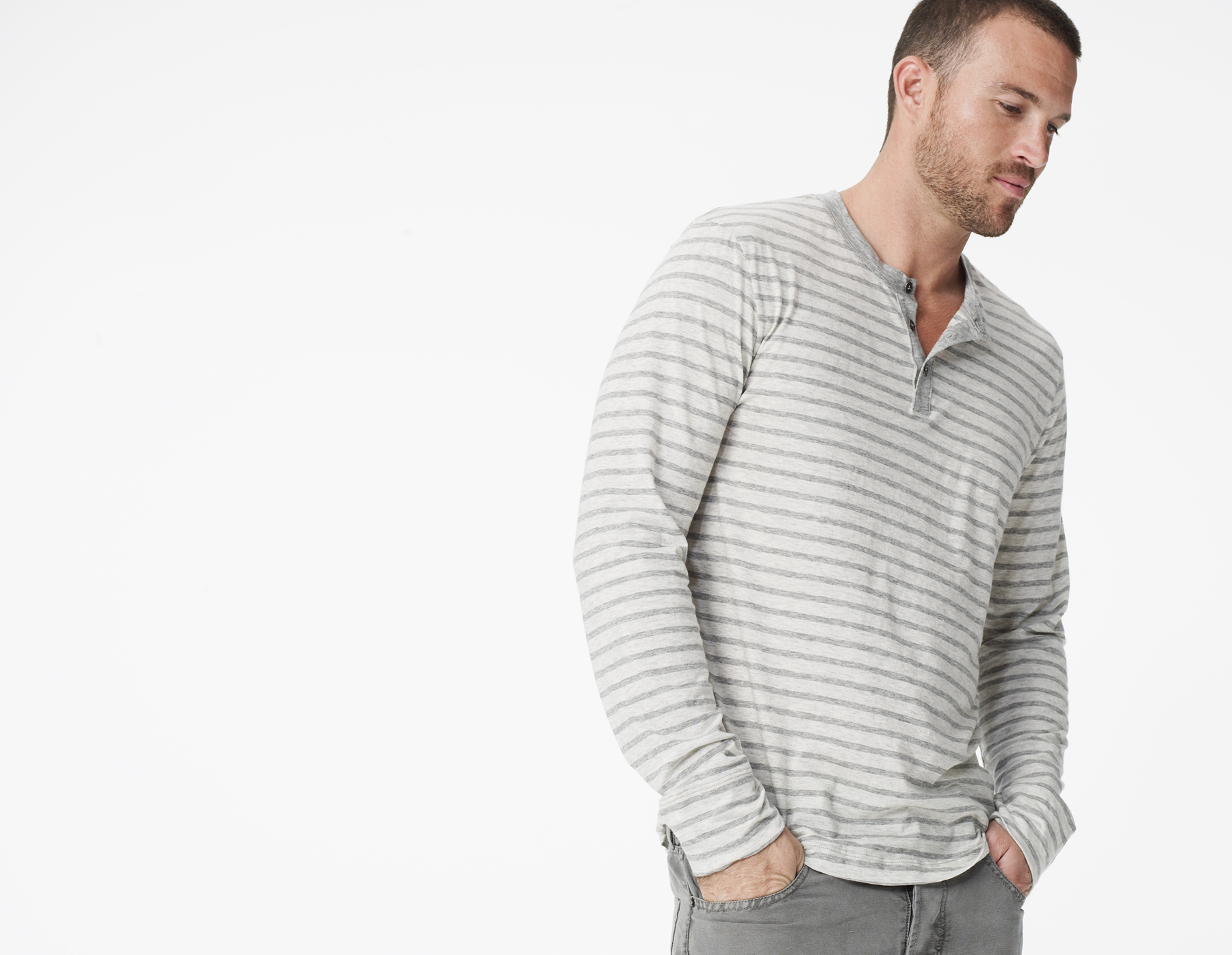 Lyst james perse striped henley in gray for men for James perse henley shirt