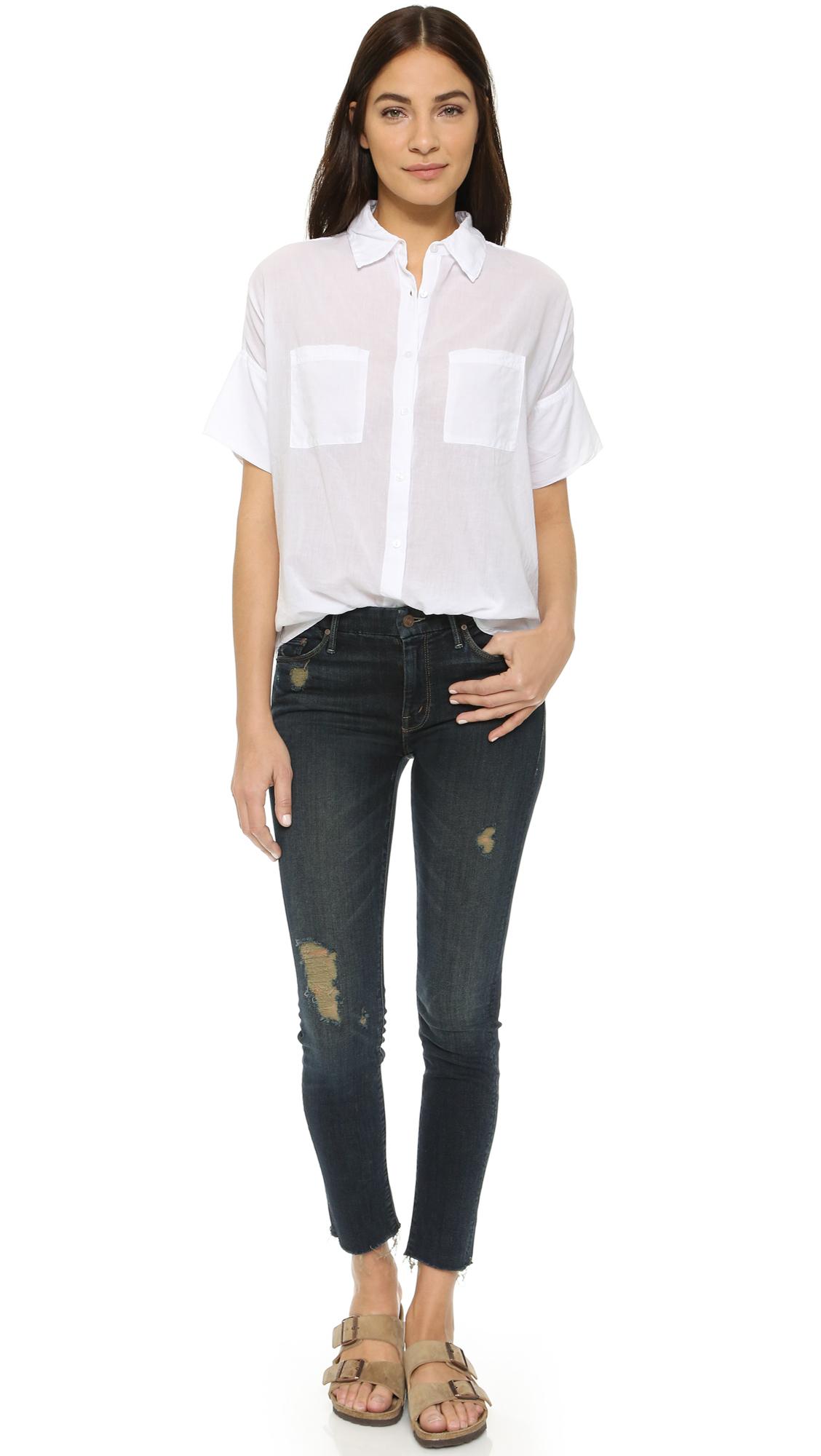 Sundry Short Sleeve Blouse in White | Lyst