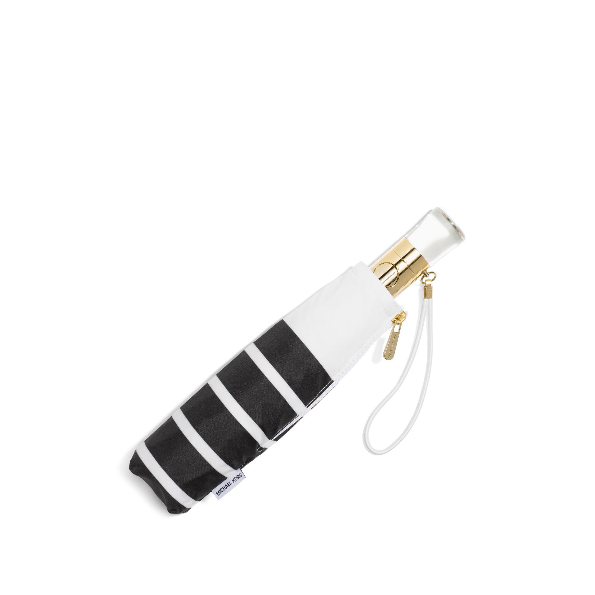 Lyst Michael Kors Striped Nylon Umbrella In Black