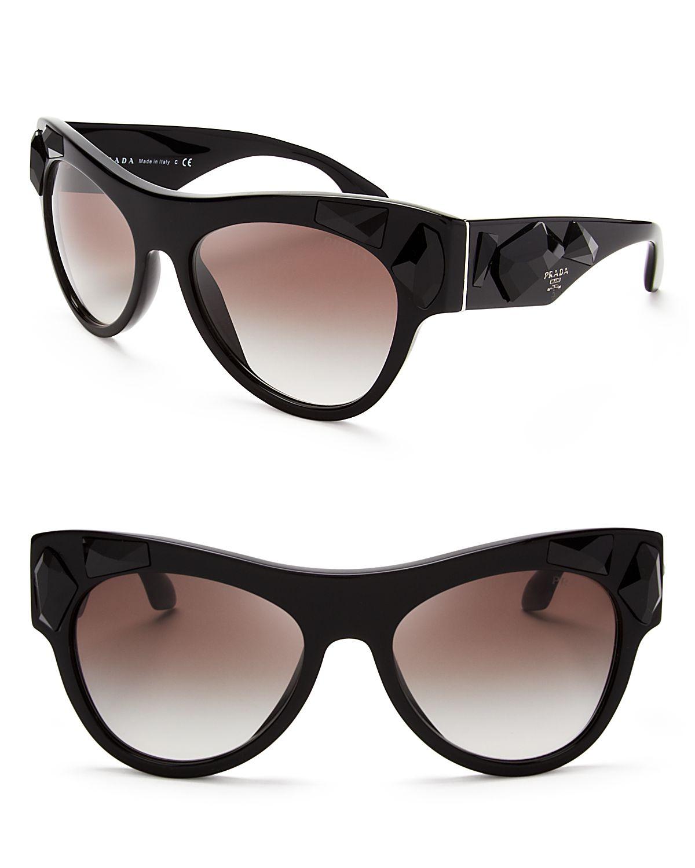 Lyst - Prada Oversized Crystal Cat Eye Sunglasses in Black