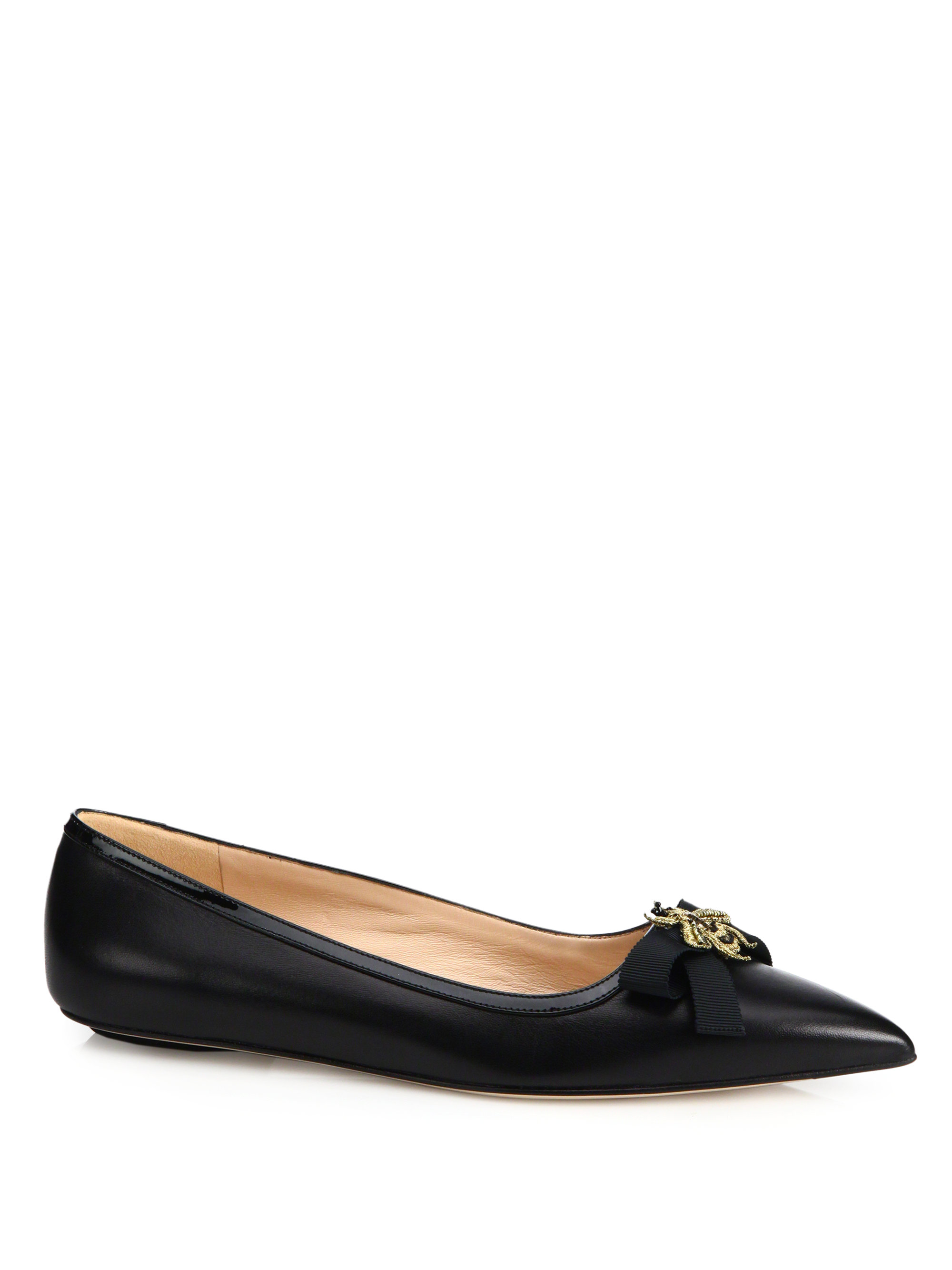 Gucci Moody Bee Leather Ballet Flats in