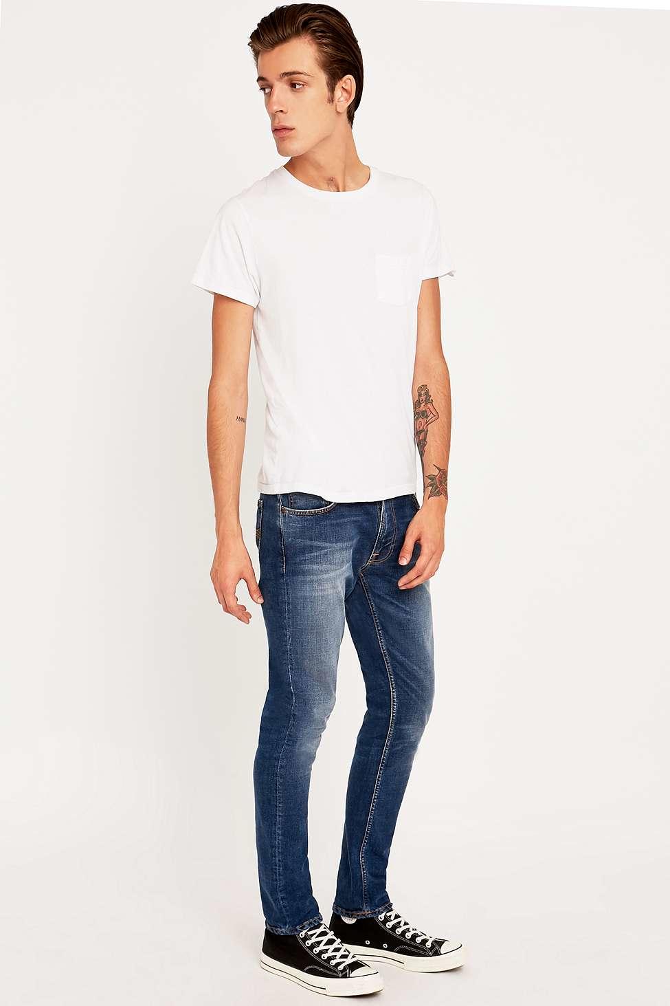 Nudie Jeans Denim Lean Dean Bay Blue Slim Fit Jeans for Men