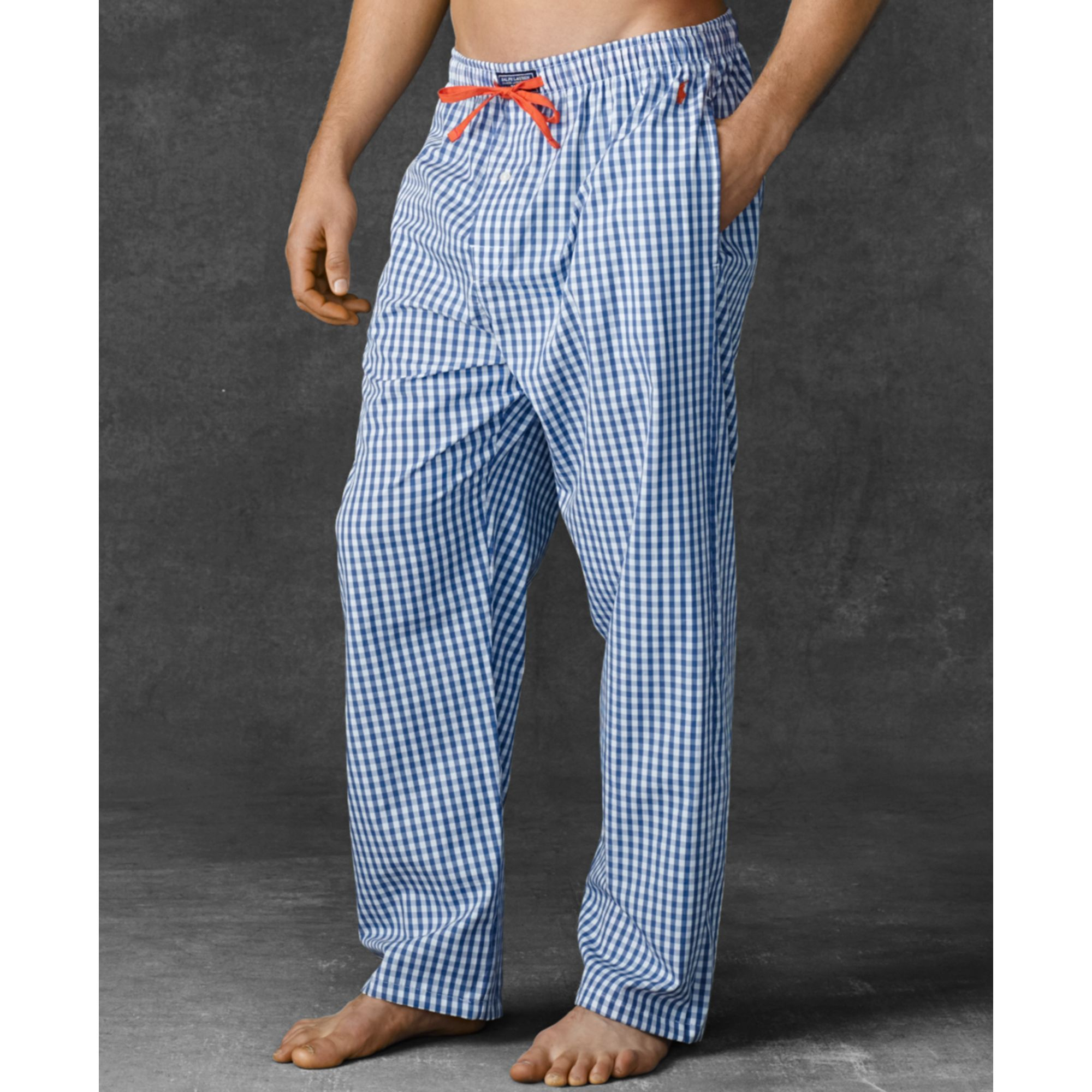 Ralph Blue Men Pants Pajama Lauren Mens For Polo Gingham Woven kZTXOiwPu