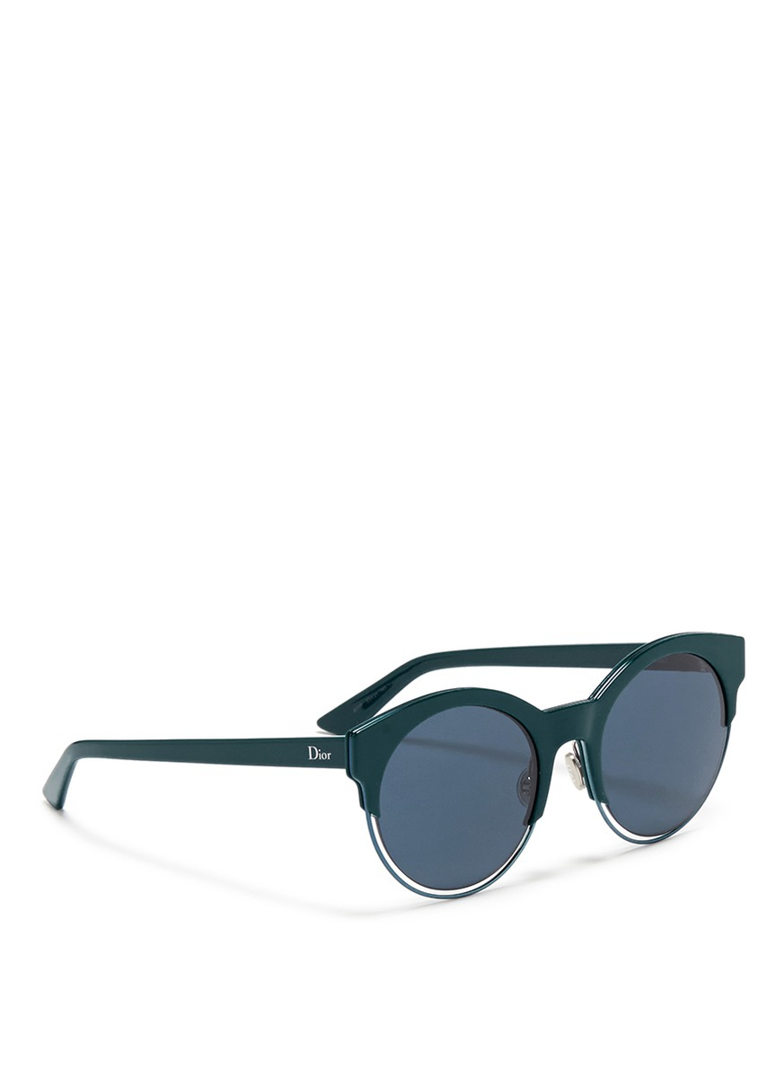 486a94129c Lyst - Dior  sideral 1  Metallic Rim Acetate Cat Eye Sunglasses in Blue