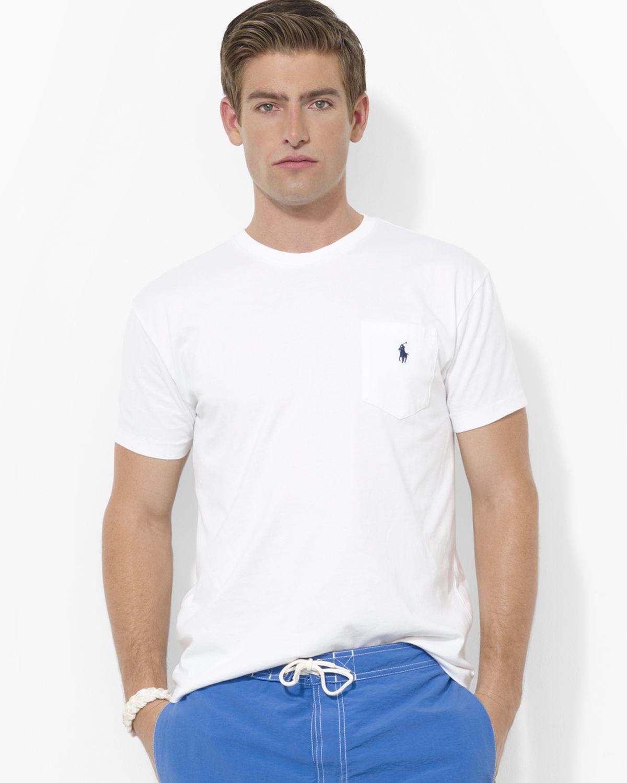 Men Cotton White Fit Ralph Short For Sleeved Lauren Polo Tee Pocket Classic R5Lq34jAc