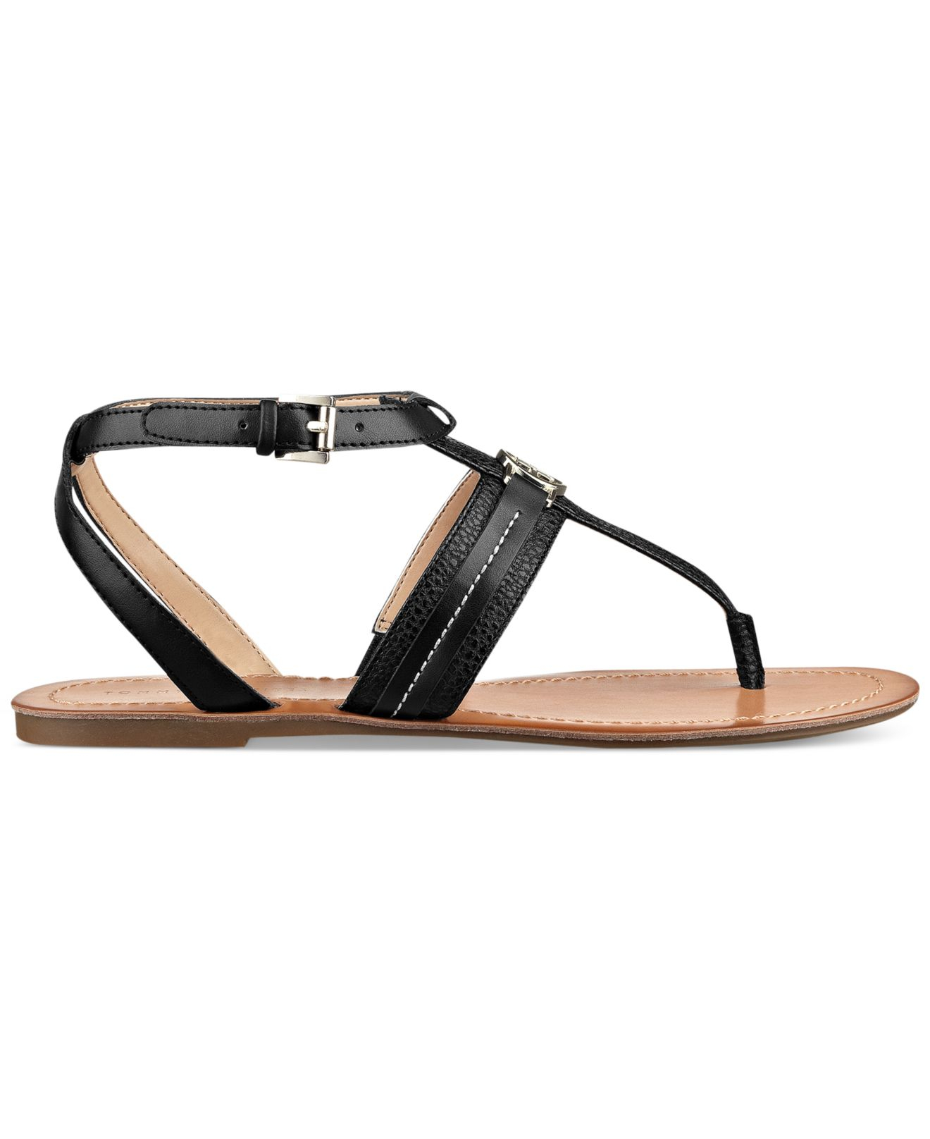 d4bdc6927 Tommy Hilfiger Women'S Lorine Flat Thong Sandals in Black - Lyst