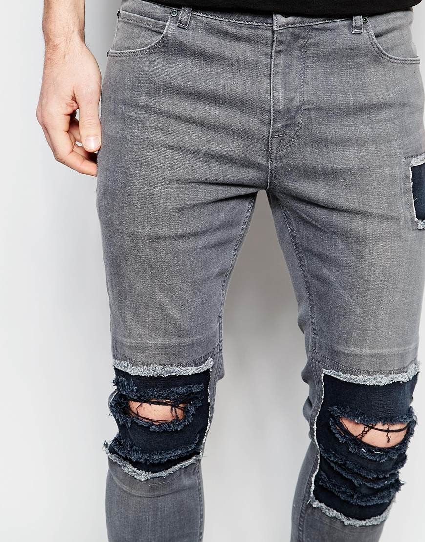 Extremely For Sale Super Skinny Jeans In Grey With Rip And Repair - Mid grey Asos Clearance Collections 00kObj