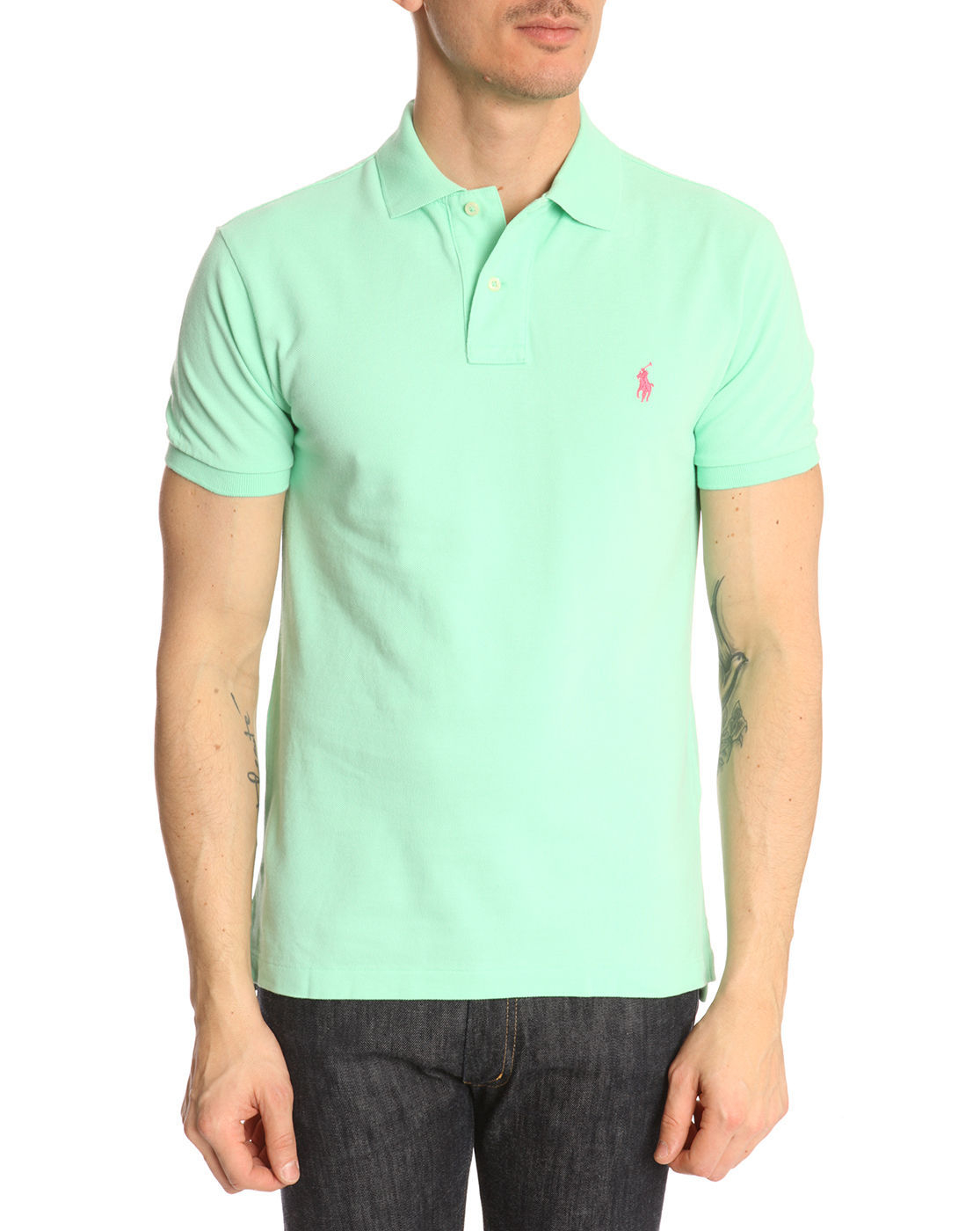 Polo ralph lauren mint green slimfit polo shirt in green for Mint color polo shirt
