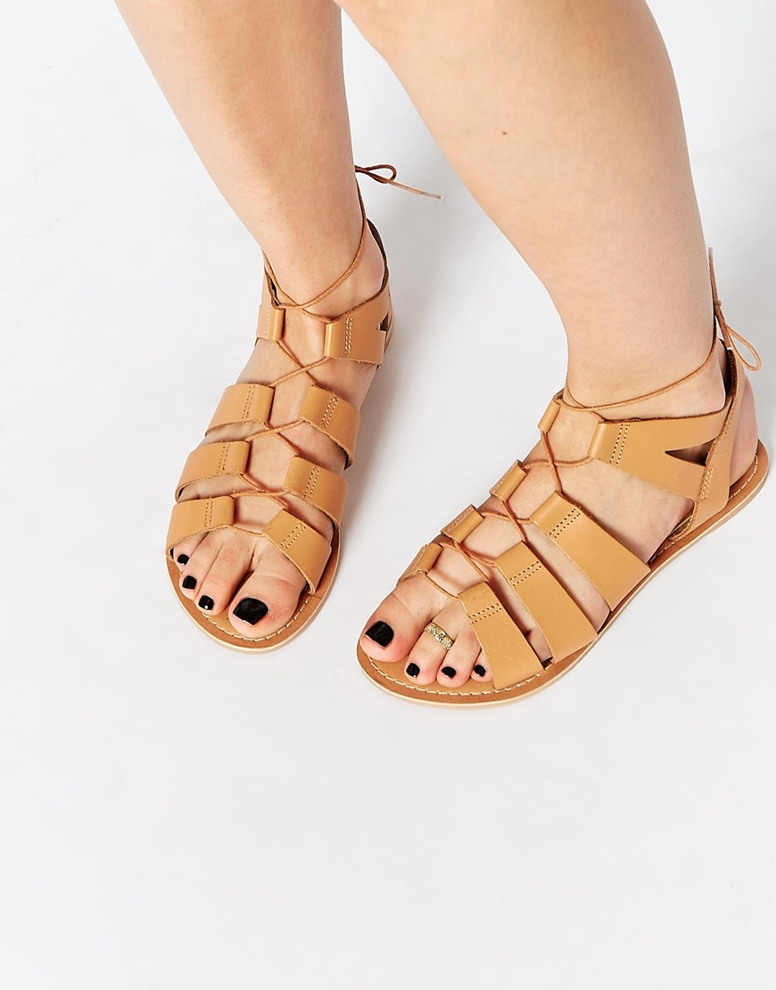 Brand-new Lyst - Asos Foss Leather Lace Up Sandals in Brown QX01
