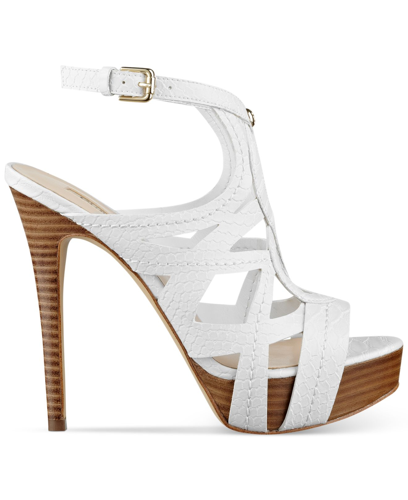 guess kaesy platform sandals in white lyst