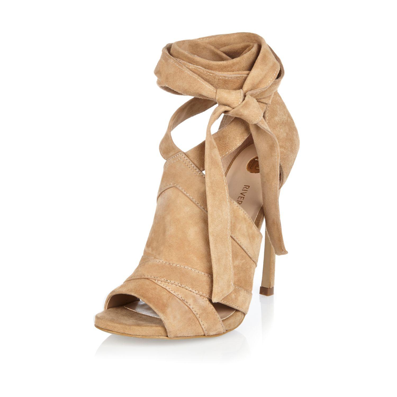 river island beige suede tie up shoe boots in lyst