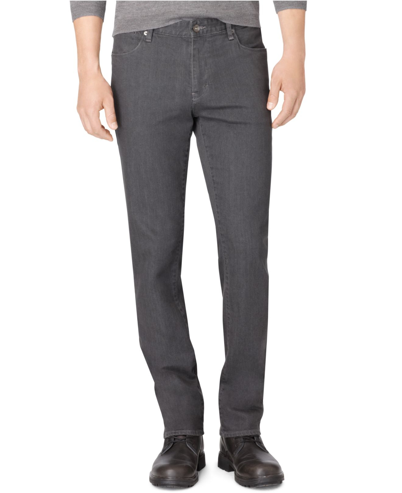 calvin klein grey slim straight fit jeans in gray for men. Black Bedroom Furniture Sets. Home Design Ideas