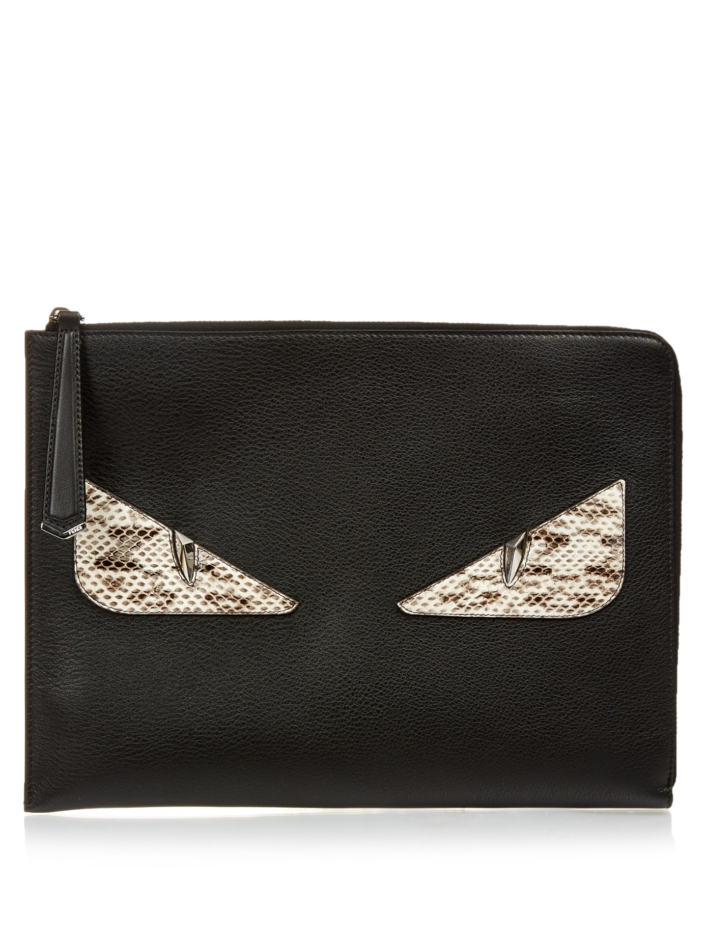 b7d3fd5e037e ... new style fendi bag bugs leather and snakeskin pouch in black lyst  cb48c 7a481 ...