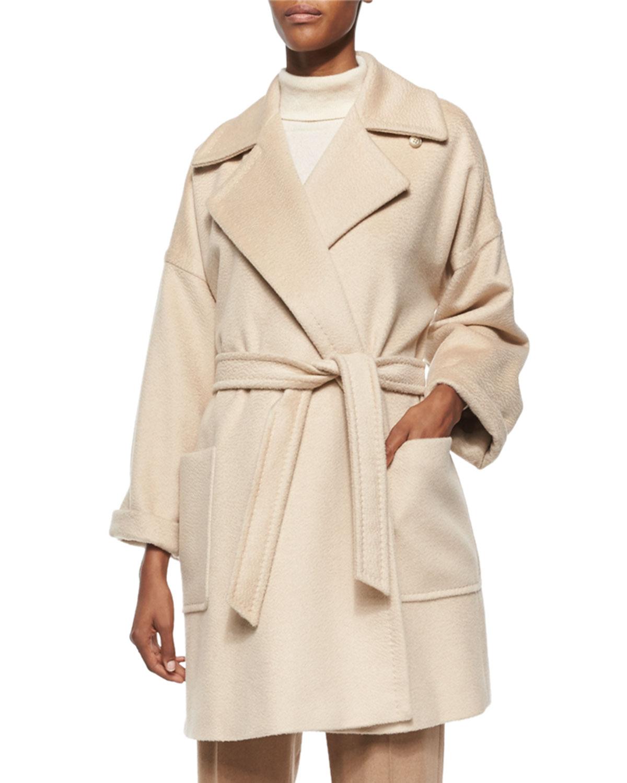 98c69732dd7 Lyst - Max Mara Velia Camel Hair Short Wrap Coat in Natural