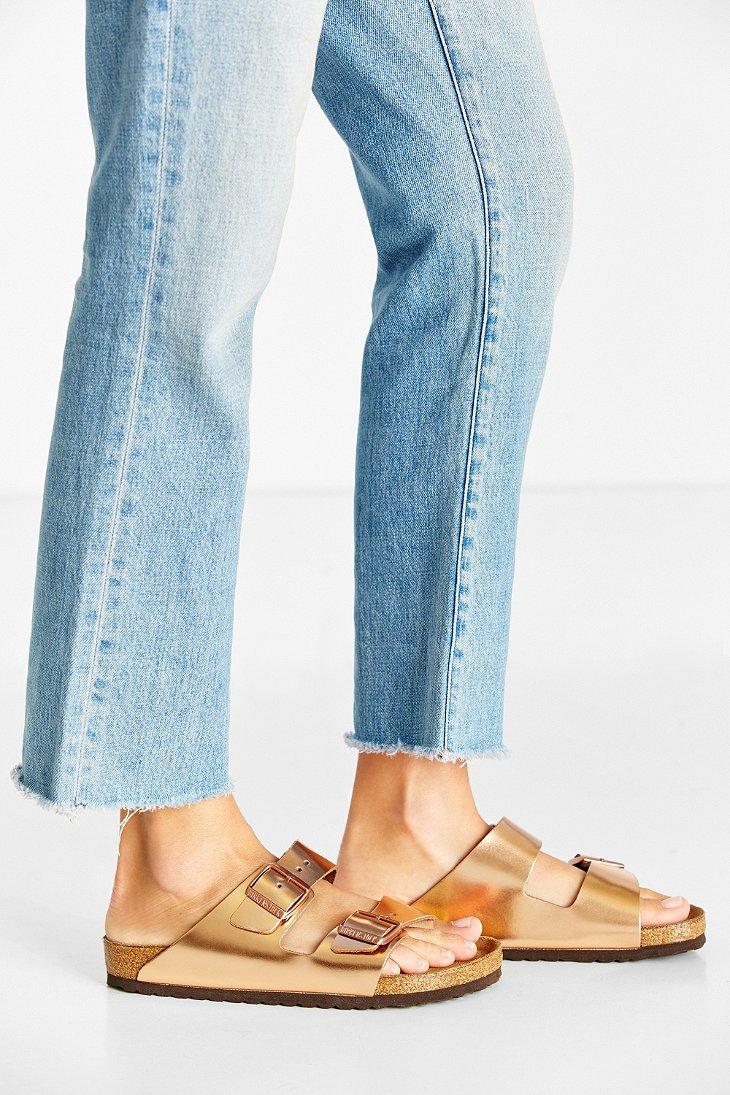 fd108a32b2e Lyst - Birkenstock Arizona Metallic Soft Footbed Sandal in Metallic