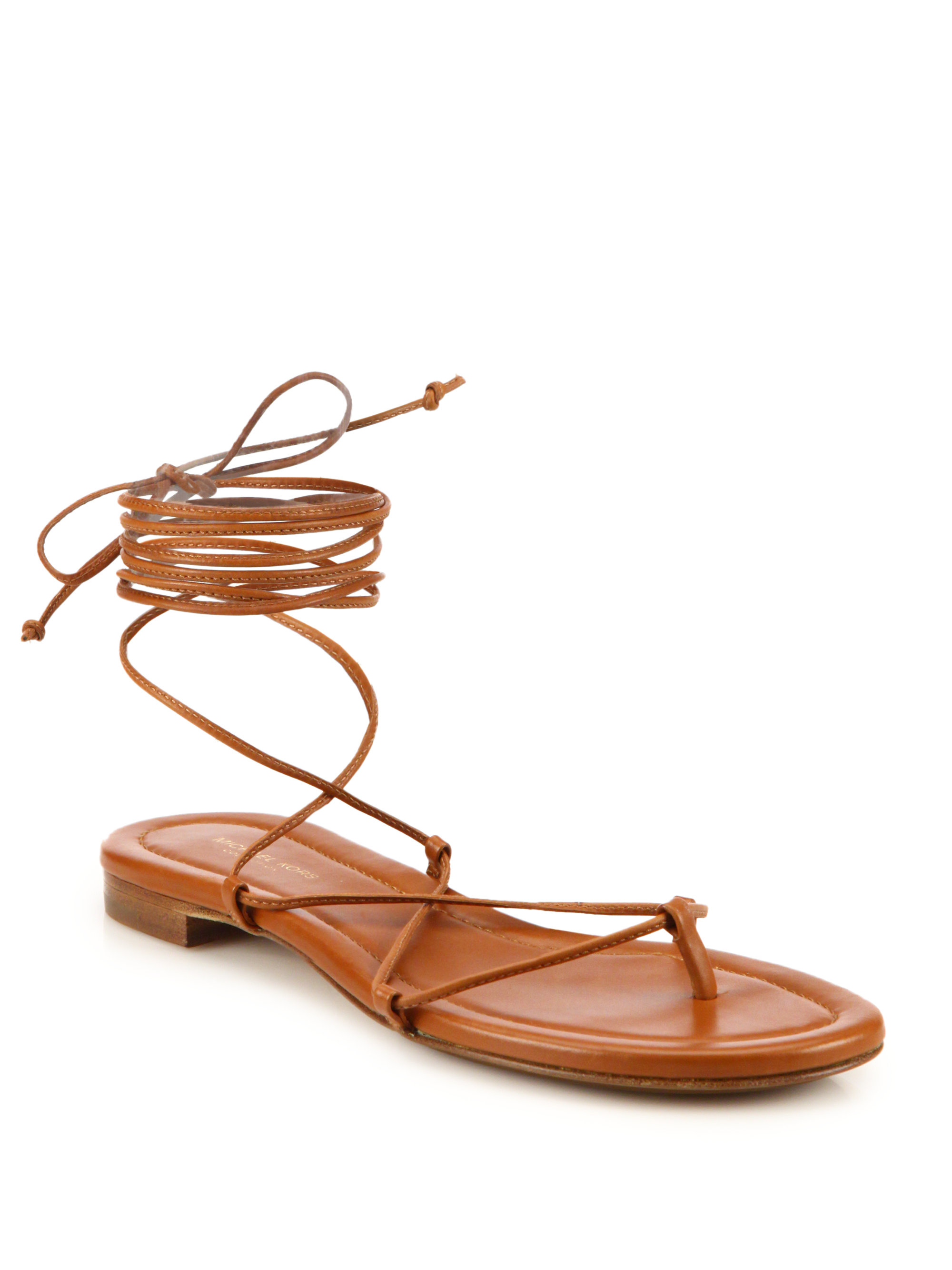 Super Lyst - Michael Kors Bradshaw Lace-up Leather Sandals in Brown VJ28