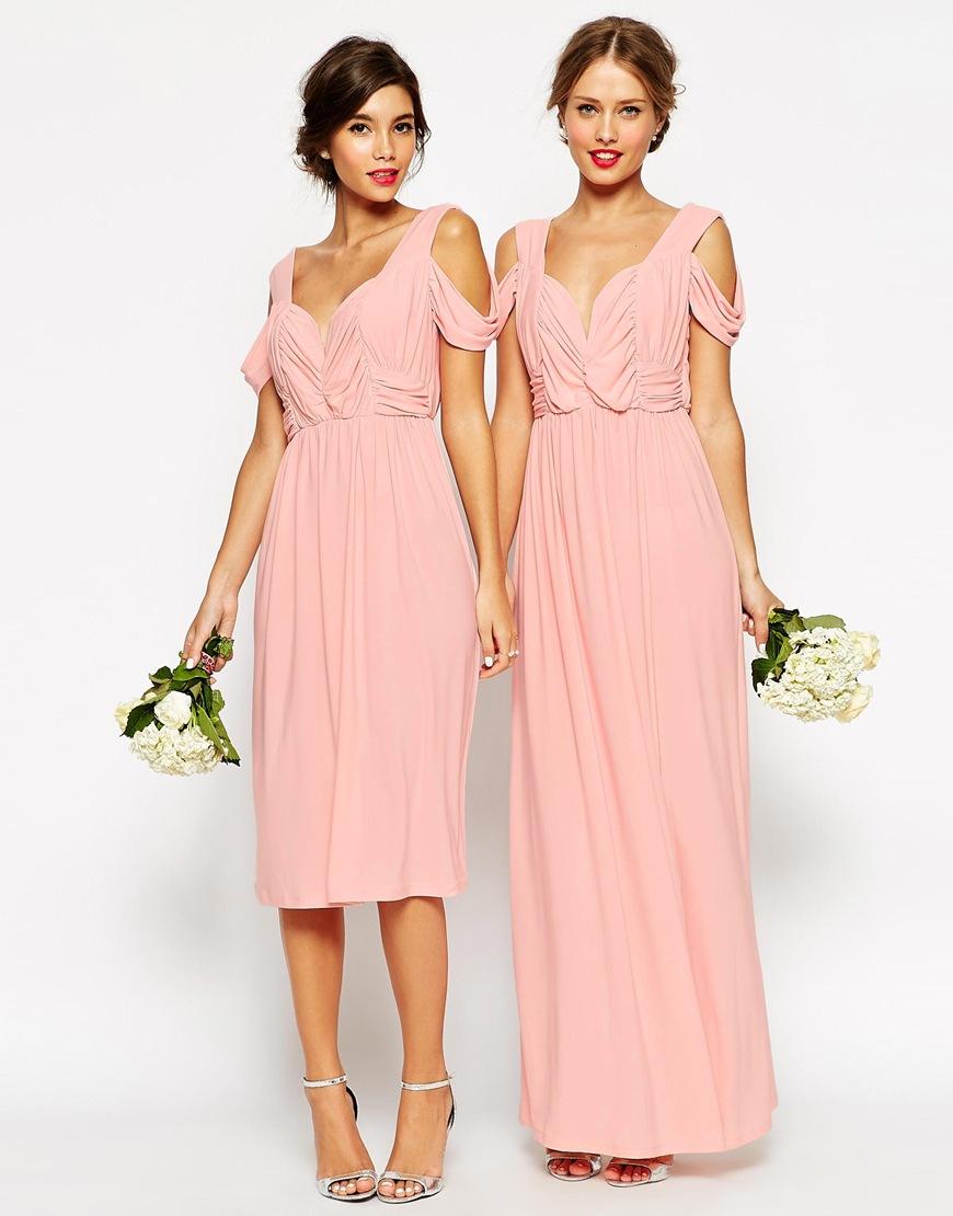 Lyst - Asos Wedding Cold Shoulder Ruched Midi Dress in Pink