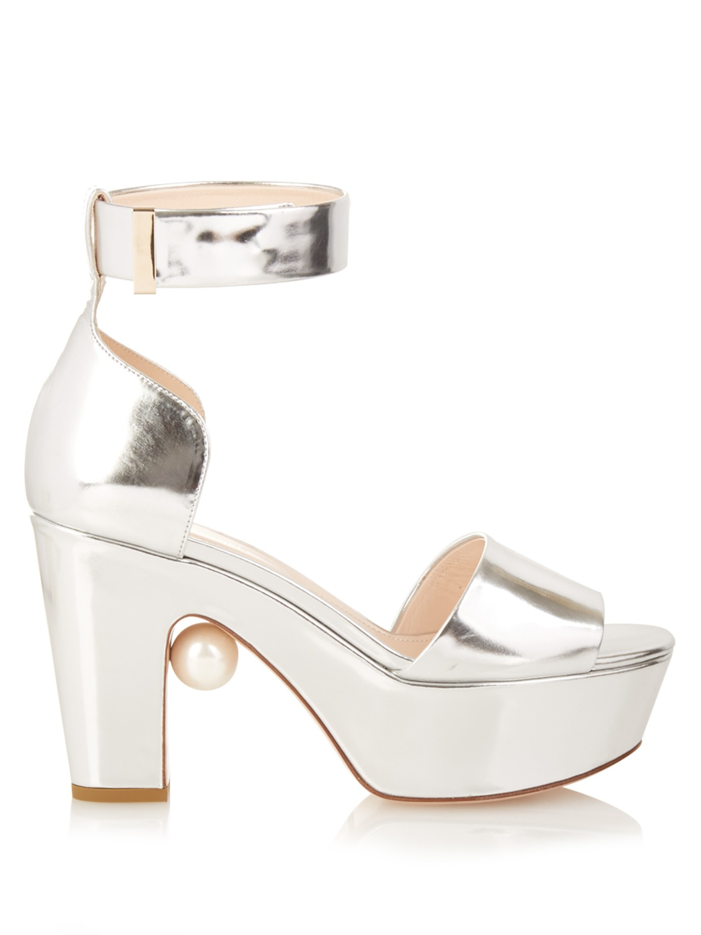 41bd0a425fa Lyst - Nicholas Kirkwood Maya Pearl-embellished Block-heeled Sandals ...