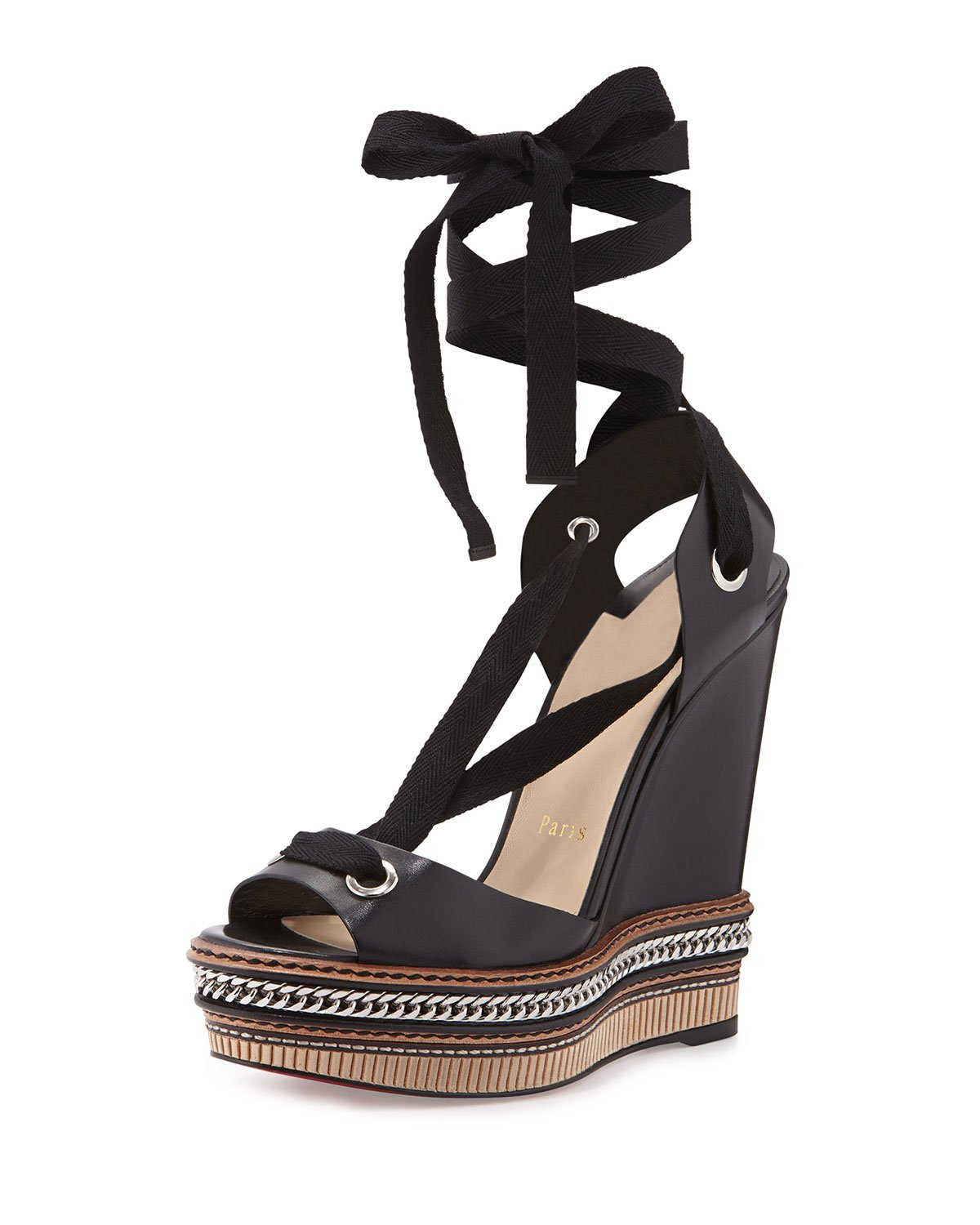 competitive price e17f8 7d7c7 Christian Louboutin Black Tribuli Lace-up Red Sole Wedge Sandal