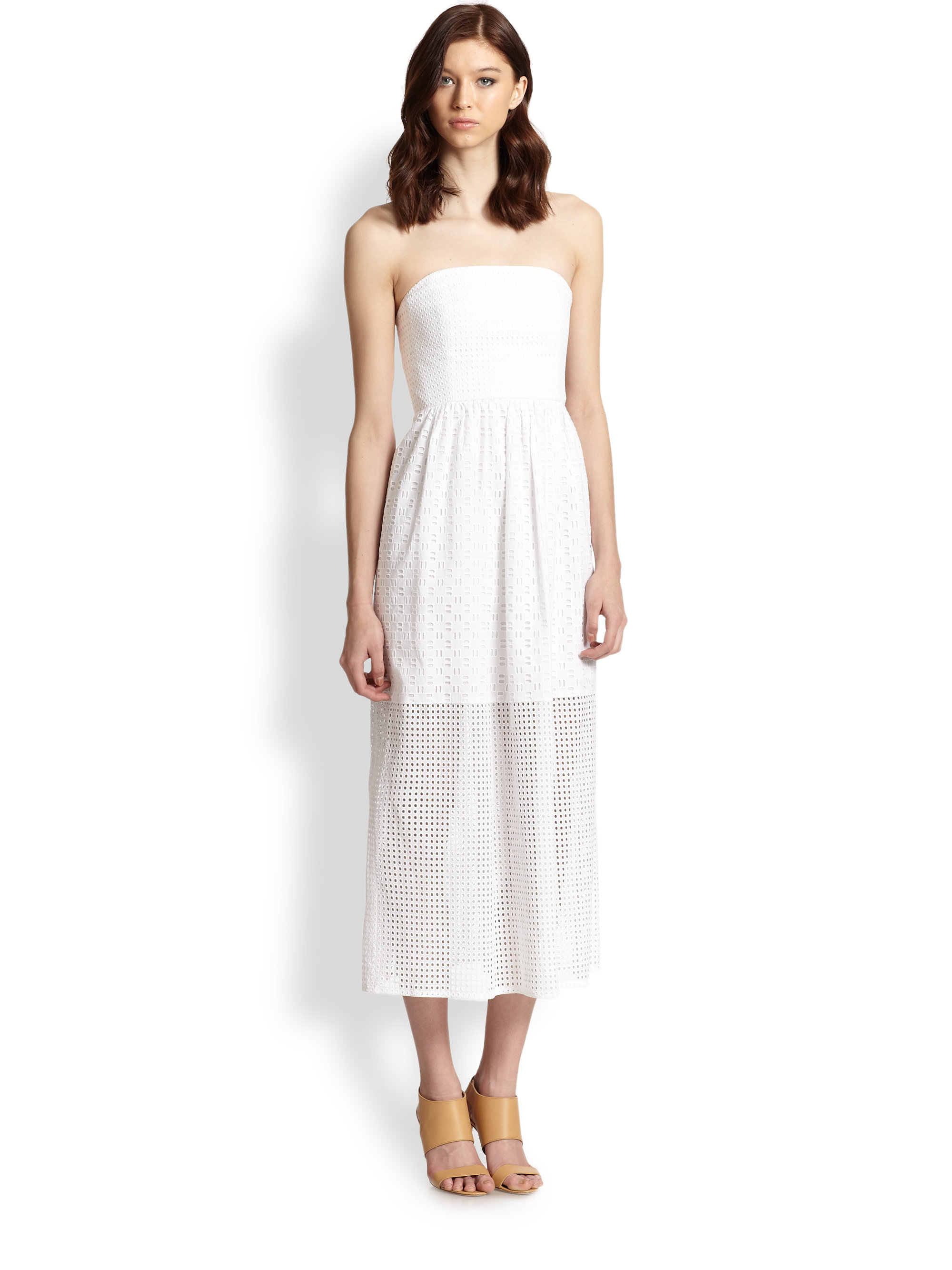 Tibi Kat Strapless Cotton Eyelet Dress in White | Lyst