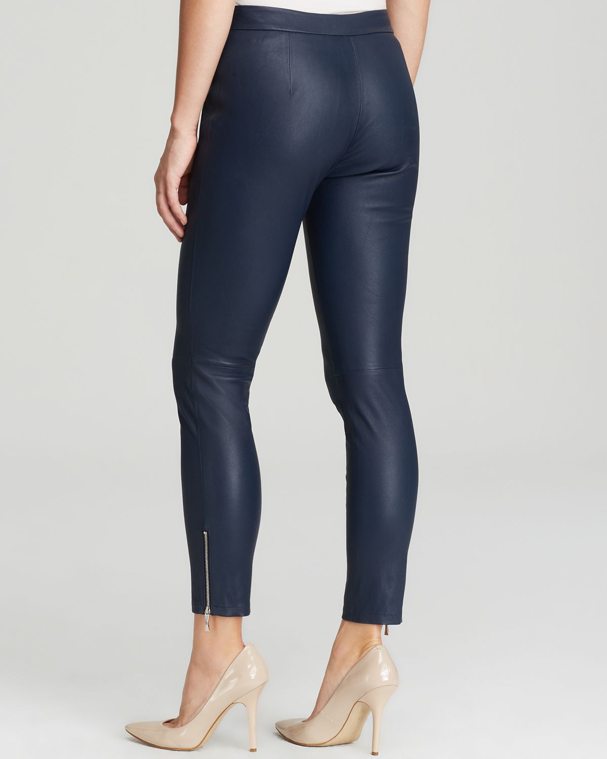 Kate spade new york Estella Skinny Leather Pants in Blue | Lyst