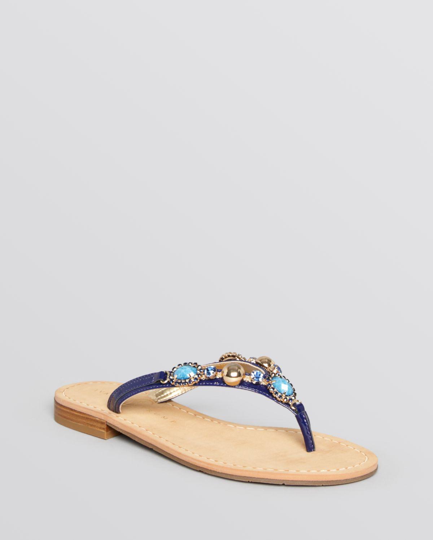 a646db9e0b2a5b Lyst - Ivanka Trump Flat Thong Sandals Jeweled in Blue