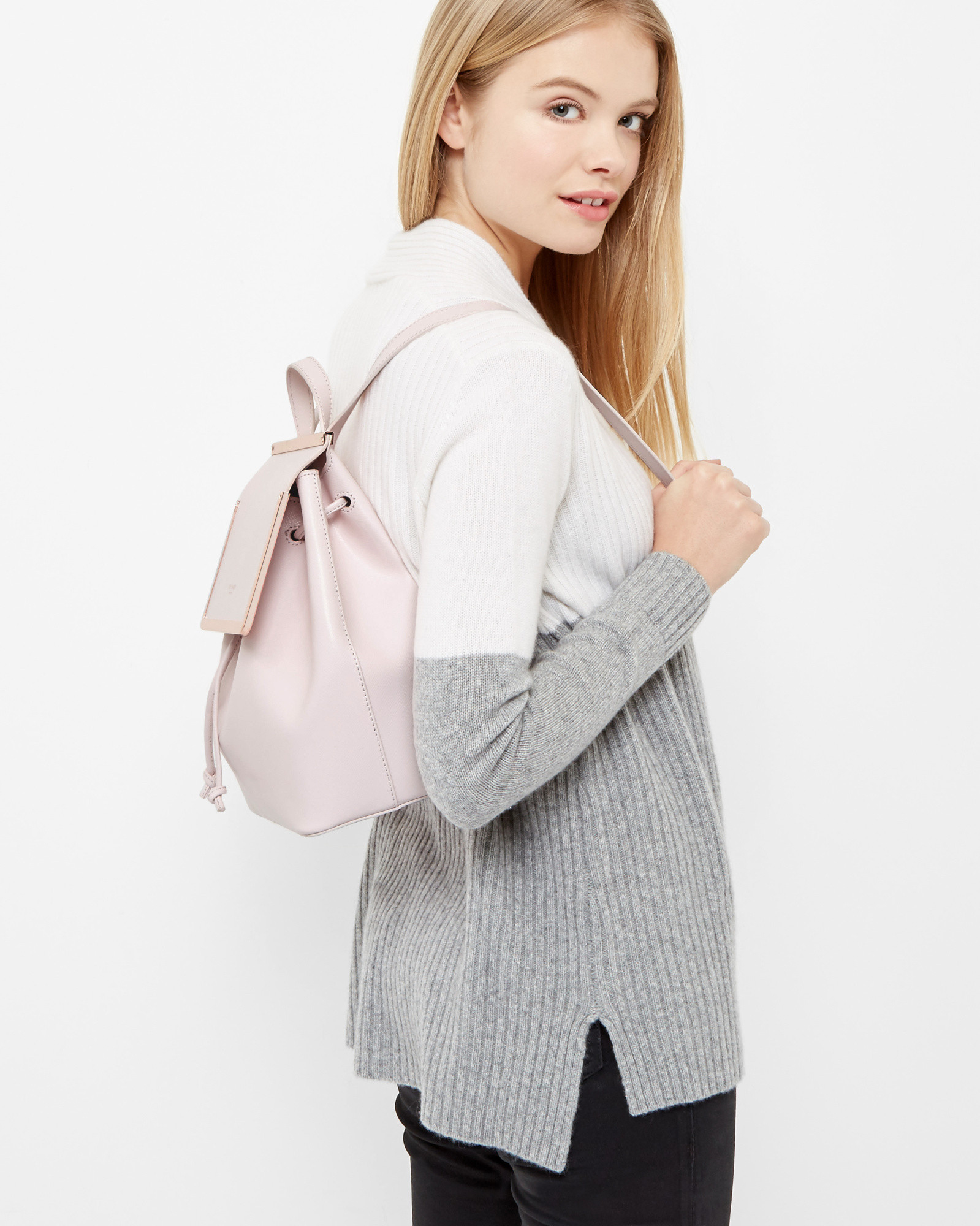 81d5000892 Ted Baker Metal Bar Leather Backpack in Pink - Lyst