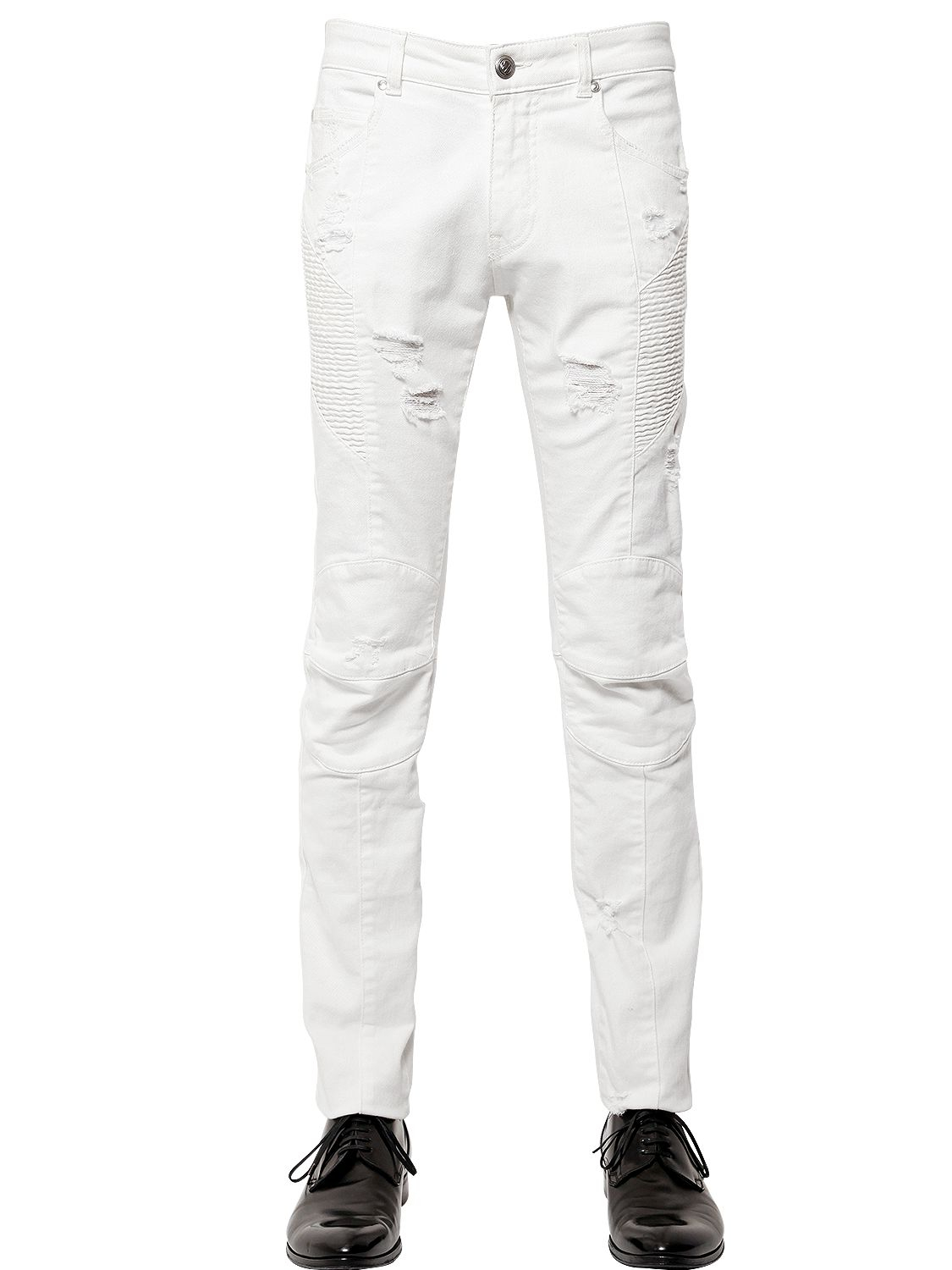 lyst balmain 16cm destroyed stretch denim biker jeans in